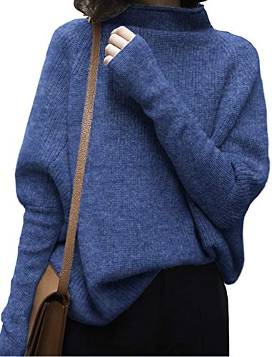 LongMing Damen Rollkragenpullover Oversized Loose Fledermaus?rmel Winterpullover Damen Wolle Pullover Sweater (L, Flower Blue)