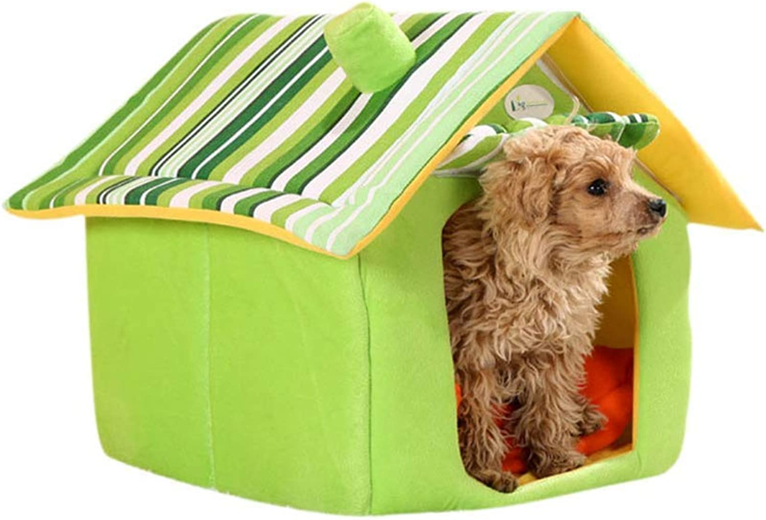 Dog House, Kennel Suitable For Small And Mediumsized Dog Pet Nest, Cat Nest Dog Mat Winter Washable Dog Bed  Brown, Yellow, bluee (S, M, L, Xl) (color   GREEN, Size   M)