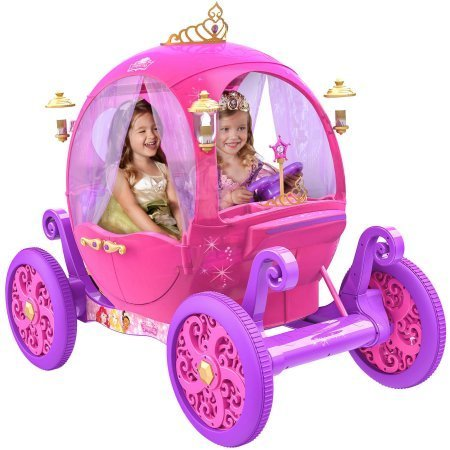 24V Iconic Disney Princess Carriage, Features a Detachable 'Wear and Share' Tiara, Heart-Shaped Steering Wheel and Luxurious Curtains
