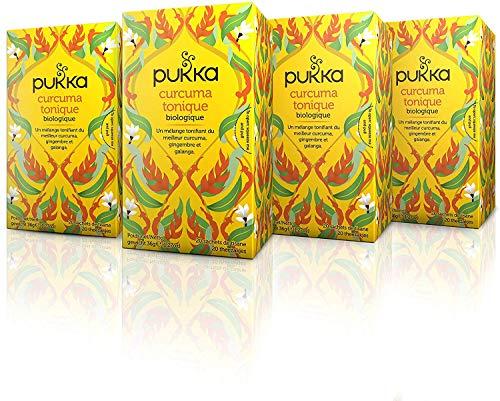 Pukka Infusion Biologique Ayurvédique Curcuma Tonique, Issue du Commerce Equitable 80 Sachets (Lot de 4x20 Sachets)
