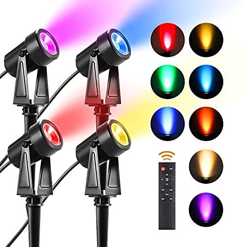 LEOEU RGB Gartenbeleuchtung, 4 Stück 15m RGB Gartenstrahler LED mit Erdspieß Gartenleuchte, Außenleuchte mit Stecker, RGB Gartenlampe IP65 Spotbeleuchtung, Wegbeleuchtung Rasenlicht für Außen