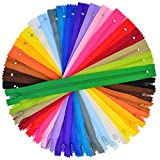 100 Pieces Nylon Coil Zippers, Bantoye 12 Inches Colorful Sewing Zippers Supplies for Tailor Sewing Crafts, 20...