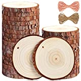 5ARTH Natural Wood Slices - 30 Pcs 3.5-4 inches Craft Unfinished Wood kit Predrilled with Hole Wooden Circles for Arts Wood Slices Christmas Ornaments DIY Crafts