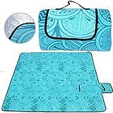 SaiXuan Coperta da Picnic Impermeabile,Portatile Compatto Pile Tappetino Anti Sabbia per Spiaggia Campeggio All'aperto BBQ Estate,Escursionismo,Campeggio,Parcheggio,Viaggi,200 x 200 cm (Blu Pavone)