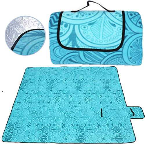 SaiXuan Picknickdecke 200 x 200 cm Outdoor Stranddecke wasserdichte sanddichte tolle Picknick-Matte Fleece wärmeisoliert wasserdicht mit Tragegriff (Pfauenblau)