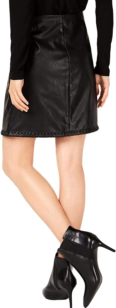 INC Womens Faux Leather Above Knee Straight Skirt Black L