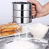 NO Setaccio per Farina da Cucina Setaccio per Farina in Acciaio Inossidabile Setaccio per Farina e Zucchero a Velo Semiautomatico per Farina per 250 Grammi di Farina