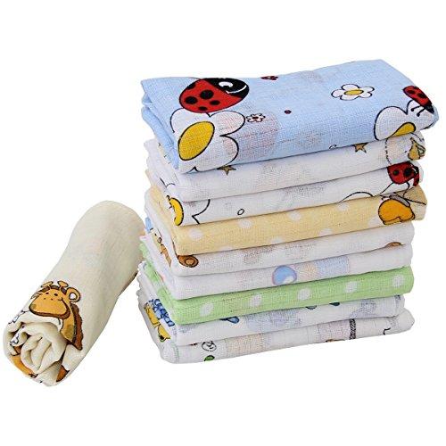 10 Stoffwindeln bunt für Jungs Mullwindeln Spucktücher Baumwolle 60x80cm