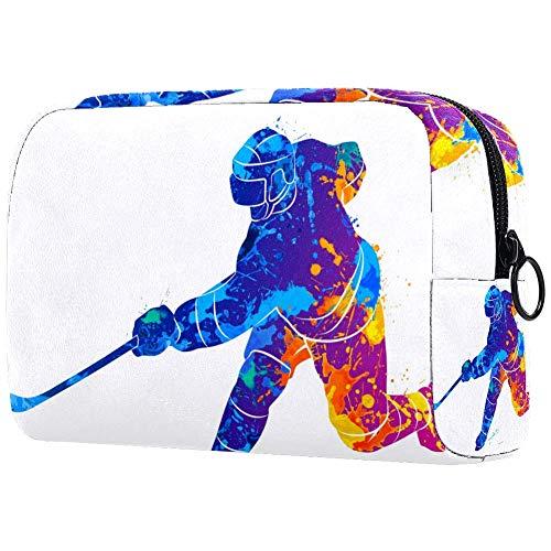 TIKISMILE Hockey Player Large Makeup Bag Toiletry Bag Travel Cosmetic Bag Portable Makeup Pouch for Women Girls