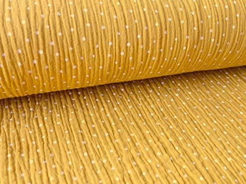 Musselin Baumwollstoff in Senf mit weißen Punkten als Meterware zum Nähen von Kinder- und Baby Kleidung, 50 cm