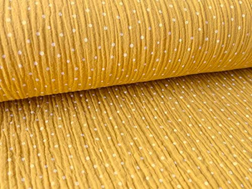 Qualitativ hochwertiger Musselin Baumwollstoff in Senf mit weißen Punkten als Meterware zum Nähen von Kinder- und Baby Kleidung, 50 cm
