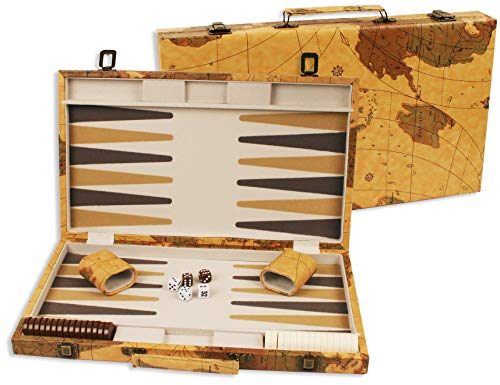 DA VINCI 18 inch Leatherette Backgammon Set with Beautiful Old World Map...