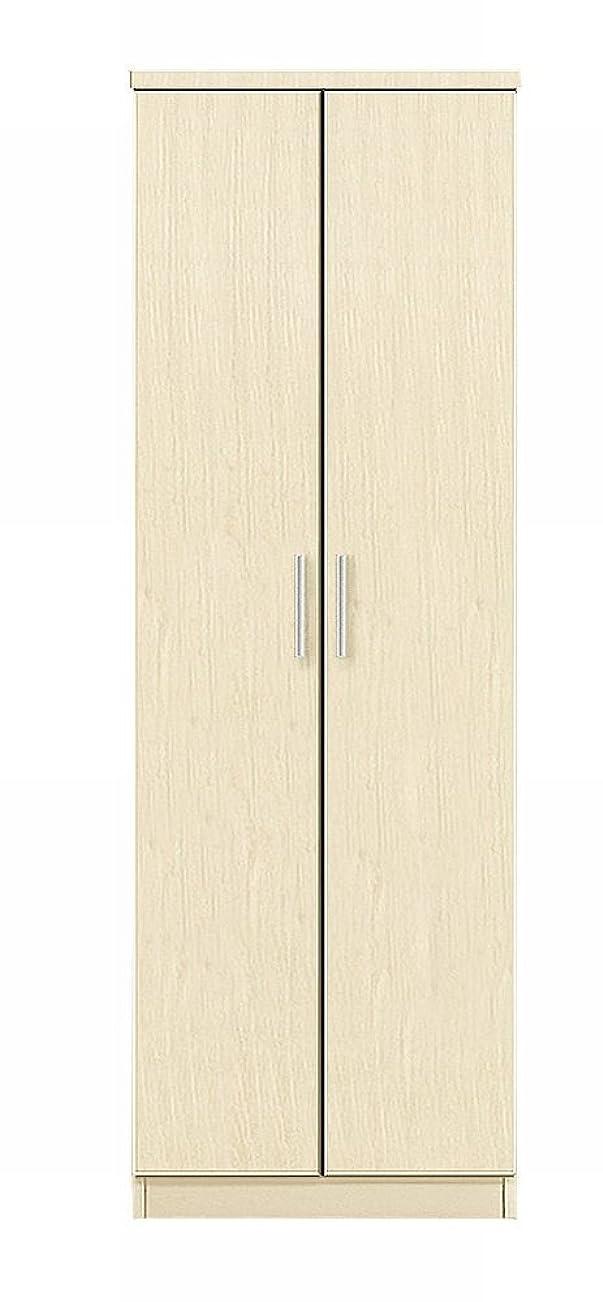 バング忍耐絶えずワードローブ クローゼット 服吊 完成品 幅60cm 国産品 日本製 (ホワイト(白木目))