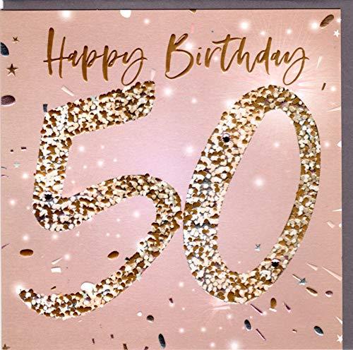 Belly Button Designs hochwertige Glückwunschkarte zum runden 50. Geburtstag (goldlachs)