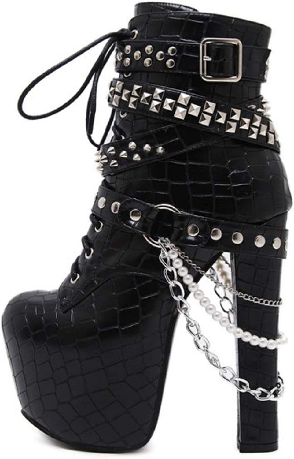 Show Story Punk Buckle Bone Heels Platform Ankle Boots Women's High Heel Fashion Mid Calf Boots Solid Rivet shoes Wedding Party Dress Boots