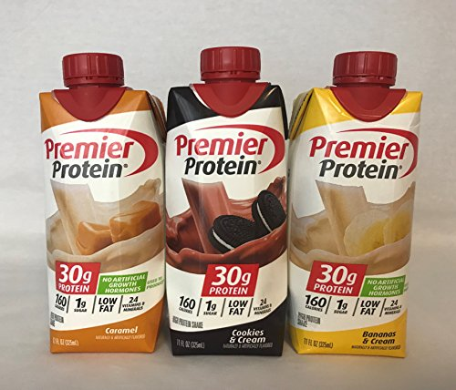 Premier Protein High Protein Shakes - 4 Caramel, 4 Cookies & Cream, 4 Bananas & Cream (11 fl. oz., 12 pack)
