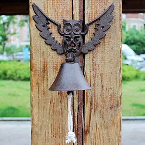 Riyyow Creative Forjon Hierro Portero Europeo Cast Cast Decorativo Handbell Retro jardín Decoración de la Pared Artesanías de la Pared Chimes de Viento 21.6x14.5x23cm