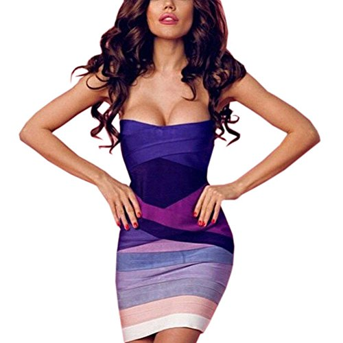 HLBandage Women Gradient Strapless Bodycon Mini Bandage Dress(S,Gradiente Morado)