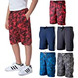 5 Pack: Big Boys Girls Youth Teen Printed Shorts Camo Mesh Dry-Fit Sport Active Athletic Knit Mesh Basketball Soccer Exercise Running Lacrosse Tennis Performance Gym Teen Clothing-St 5,M (8/10)