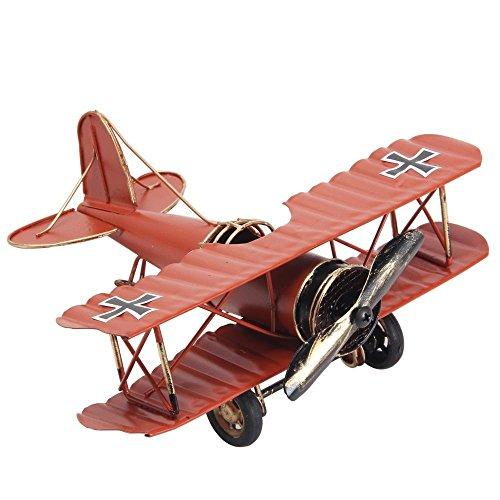Berry Crystal®, Vintage-/Retro-Schmiedeeisen-Flugzeug – Metall Doppelflugzeug Flugzeugmodelle – die Beste Wahl für Foto-Requisiten, Heimdekoration, Ornament/Souvenir, Arbeitszimmer-Dekoration (rot)