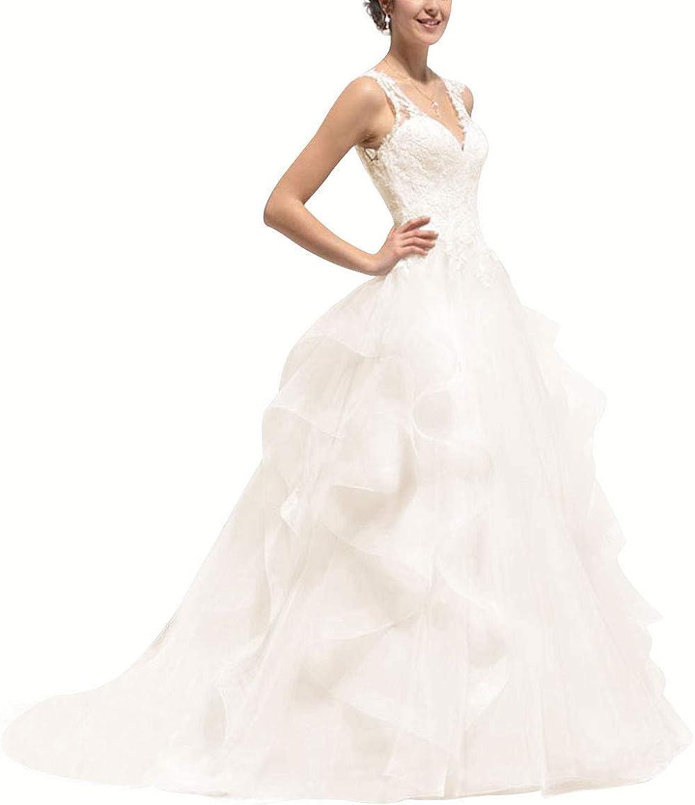 HUINI Brautkleider Vintage Lang Hochzeitskleid Prinzessin Meerjungfrau Brautmode Spitzen Standesamtkleid Langarm
