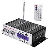 Mini amplificador de potencia, amplificador de potencia Bluetooth para el hogar, reproductor digital de audio FM estéreo de alta fidelidad para automóvil con control remoto para automóvil, motocicleta