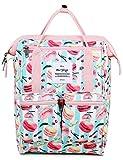 HotStyle DISA Fashion Blumen Damen Laptop Rucksack 12 Zoll (35x23x15cm), Makrone & Streifen