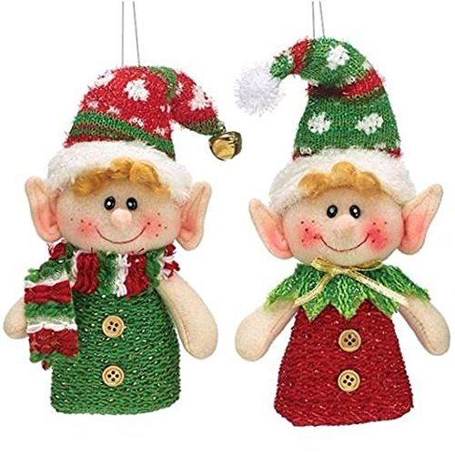 Plush Hanging Christmas Elf Ornaments - Set of 2 in Red and Green