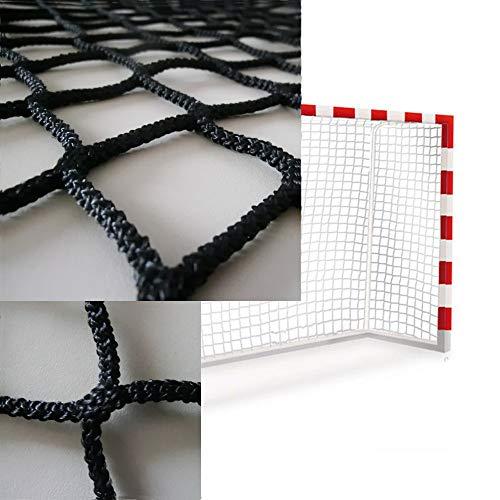Sedion Handball-Netz für Tore, Blau, Grün, Rot oder Schwarz, 3 x 2 m, Polypropylen, 3 mm Profiqualität, Schwarz