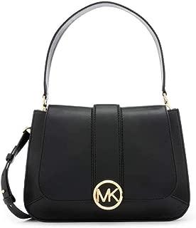 Lillie Medium Leather Shoulder Bag- Black