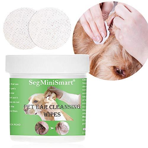 SEGMINISMART Salviette detergenti per Le Orecchie dei Cani, Salviette Detergenti per Cani e Gatti, Salviette Umidificate per Pulire Gli Orecchie, 100 dischetti in Cotone Ultra Salviette