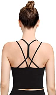 Rataves Women Strappy Sports Bras Padded Workout Yoga Bra Crop Tops Removable Cups Wirefree Crisscross Back S-XL(WX016)