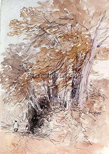 AMELIA SHARPE Trädfodrad LANE STEEP BANKS Konstnärsmålning CANVAS REPRO ART DECO