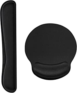 Simpeak Wrist Rest Set, Mouse Pad Wrist Rest+ Keyboard Wrist Rest Laptop Wrist Rests Non-Slip Rubber Base, Black