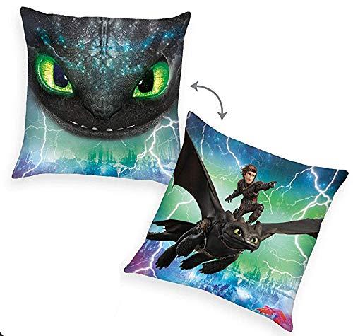 Klaus Herding GmbH Dragons Kissen (grün) | Kinder Kissen 40 x 40 cm | DreamWorks Dragons | Dekokissen Wendemotiv + Dragons Einladungskarten und Dragons Korrektur - Gelschreiber
