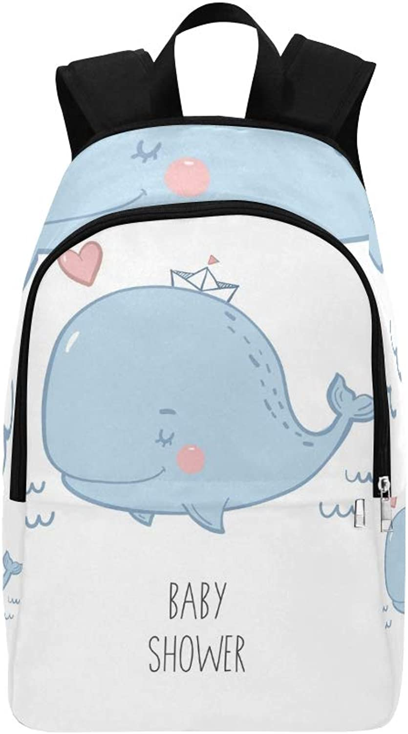 Cute Print Whale Baby Casual Daypack Travel Bag College School Backpack for Mens and Women