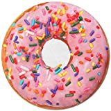 Realistic Donut Blanket, Thermal Towel Blanket Lightweight and Soft Flannel Novelty Decorative Blanket, Perfectly Round Fuzzy Blanket on Bed Couch Chair for Kids (Pink Donut, 71')