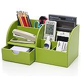 KINGFOM 7 Speicherabteil Multifunktionale Kunstleder Schreibtisch Organisator (grün)
