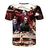 TJJY Camiseta con Estampado 3D de película de Verano para Hombre, Camiseta Informal con Cara de Joker para Hombre, Camisetas Divertidas de Manga Corta, Camiseta-XL