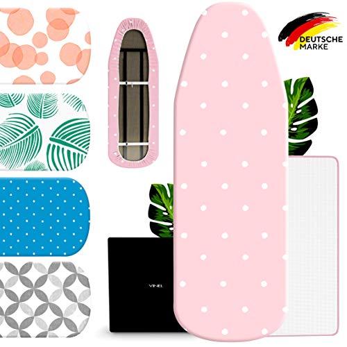 VINEL® Bügelbrett Bezug 120 x 40 für Dampfbügeleisen (100% Baumwolle, Komfort Polster) Buegeltisch 125x45, Bügeltisch Bezug für Dampfstation - XL Bügelunterlage 120x38 mit Bügelschutztuch - Pink Rosa