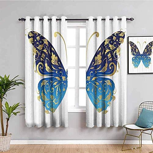 Nileco Cortinas Opacas Termicas - Azul patrón animal mariposa - 234x138 cm - Cortinas del Dormitorio de la Habitación de los Niños - 3D Impresión Digital con Ojales Aislamiento Térmico