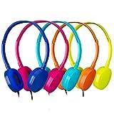 Bulk Headphones Kids Headphones 5pack,YMJ Headphones for Kids,Girls Boys- Earbuds for Kids Colorful (Mixed Color) Headphones for Grils, Boys,Students, Libraries, Classroom