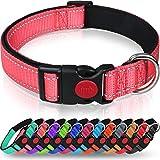 Taglory Collar Perro, Collar Nylon Reflectante Neopreno Forrado Ajustable para Perros Grandes, Rosa