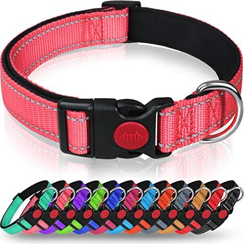 Taglory Hundehalsband, Weich Gepolstertes Neopren Nylon Hunde Halsband für Welpen, Verstellbare und Reflektierend für das Training, Rosa