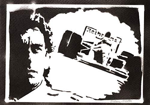 Póster Ayrton Senna F1 Grafiti Hecho a Mano - Handmade Street Art - Artwork