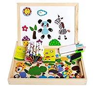 Gaocheng幼児磁気ジグソーパズル教育木製玩具両面書き込み描画ボードインテリジェンス脳トレーニングパズル学習おもちゃ子供のための年齢3 +クリスマス誕生日ギフト