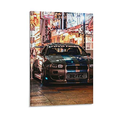 SEMN Nissan Skyline GTR R34 JDM Poster dekorative Malerei Leinwand Wandkunst Wohnzimmer Poster Schlafzimmer Malerei 12x18inch(30x45cm)