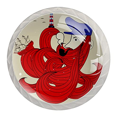 Sailor icon - Tiradores de cristal transparente para armario de cocina, 3,5 cm de diámetro con tornillos para aparador, armario de baño