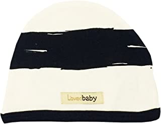 قبعة أطفال عضوية للأطفال من الجنسين من L'ovedbaby (مقلمة باللون البيج، 3-6 أشهر)