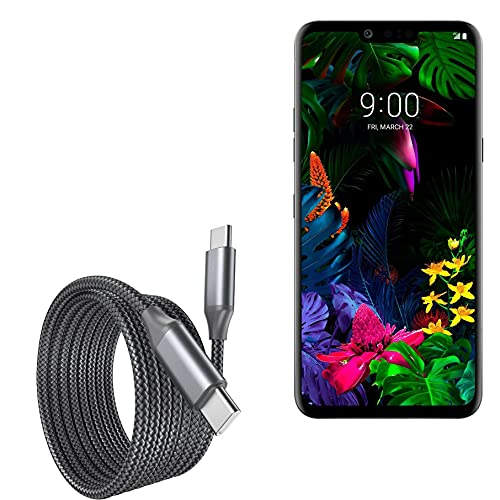 Cabo para LG G8 ThinQ (Cabo da BoxWave) – Cabo DirectSync PD (3 m) – USB-C para USB-C (100 W), longo cabo de liga de nylon trançado PD de 3 metros para LG G8 ThinQ – Preto